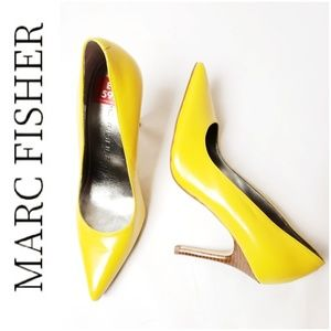 MARC FISHER Leather Yellow Pumps w Wood Heel!!